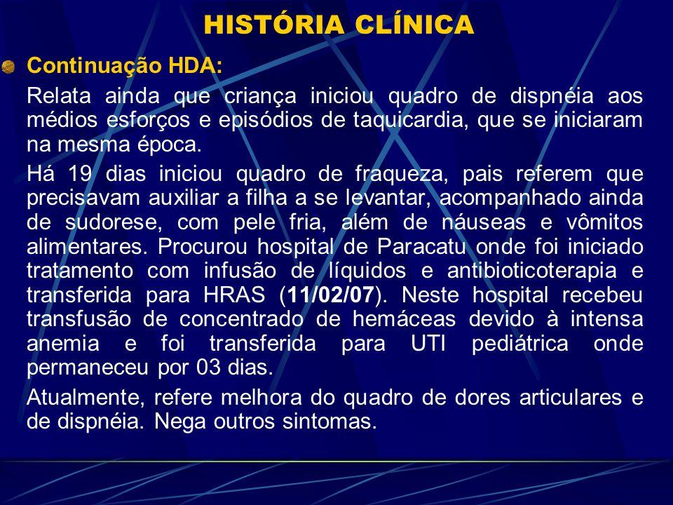 Revisão de Sistemas: Nega História de Febre, infecção de vias aéreas anterior ou perda de peso.