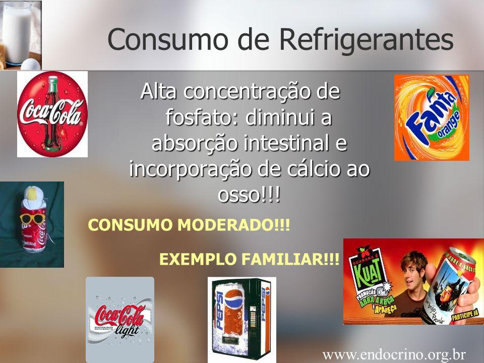 Consumo de Refrigerantes Alta concentração de fosfato: diminui a absorção intestinal e incorporação de cálcio ao osso!!! EXEMPLO FAMILIAR!!! CONSUMO M