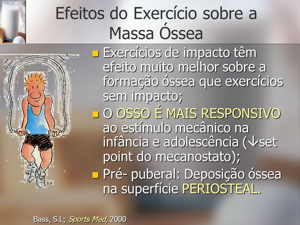 Efeitos do Exercício sobre a Massa Óssea Exercícios de impacto têm efeito muito melhor sobre a formação óssea que exercícios sem impacto; Exercícios d