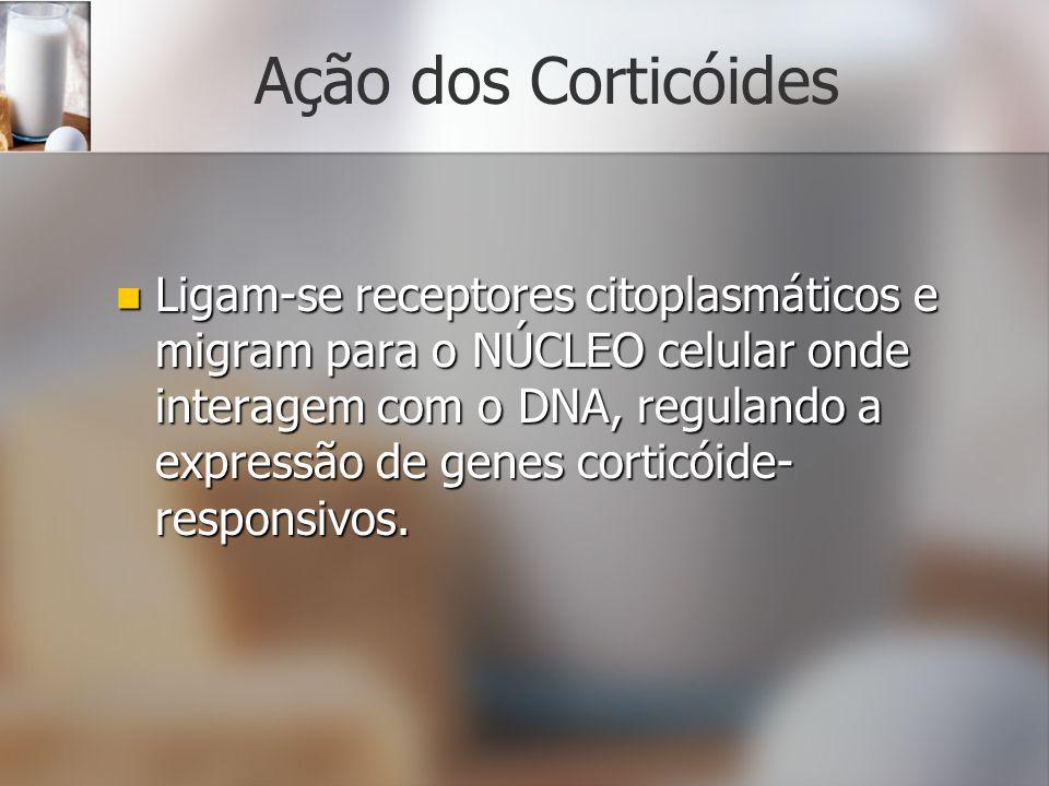 Ação dos Corticóides Ligam-se receptores citoplasmáticos e migram para o NÚCLEO celular onde interagem com o DNA, regulando a expressão de genes corti