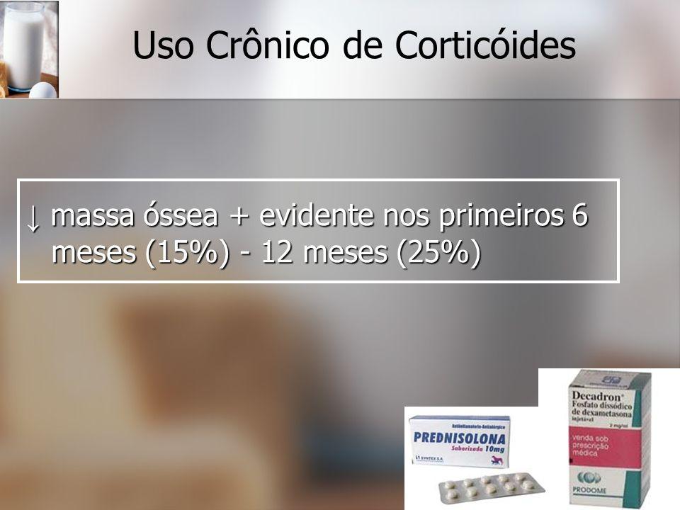 Uso Crônico de Corticóides massa óssea + evidente nos primeiros 6 meses (15%) - 12 meses (25%) massa óssea + evidente nos primeiros 6 meses (15%) - 12