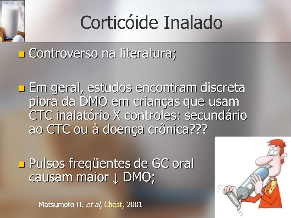 Corticóide Inalado Controverso na literatura; Controverso na literatura; Em geral, estudos encontram discreta piora da DMO em crianças que usam CTC in