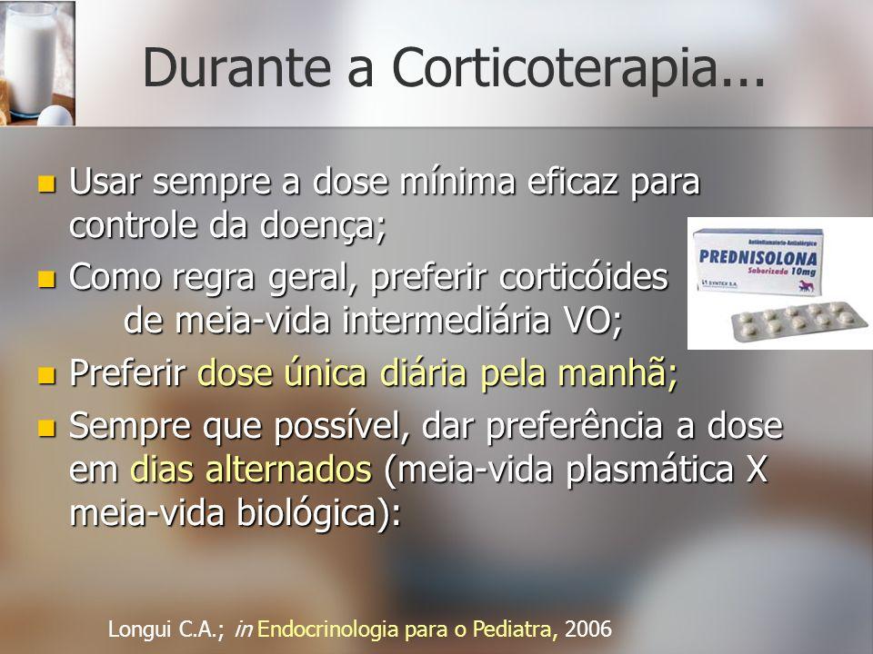 Durante a Corticoterapia... Usar sempre a dose mínima eficaz para controle da doença; Usar sempre a dose mínima eficaz para controle da doença; Como r