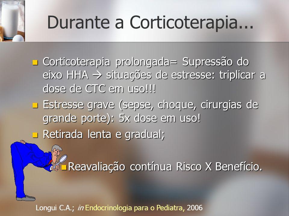 Durante a Corticoterapia... Corticoterapia prolongada= Supressão do eixo HHA situações de estresse: triplicar a dose de CTC em uso!!! Corticoterapia p