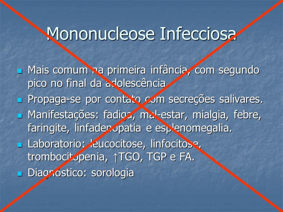 Mononucleose Infecciosa Mais comum na primeira infância, com segundo pico no final da adolescência. Mais comum na primeira infância, com segundo pico