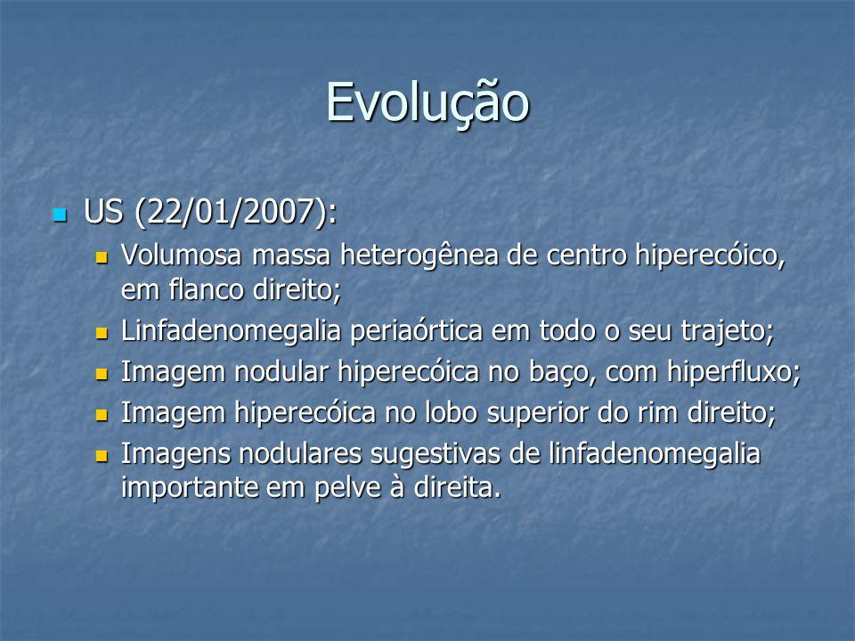 Evolução US (22/01/2007): US (22/01/2007): Volumosa massa heterogênea de centro hiperecóico, em flanco direito; Volumosa massa heterogênea de centro h