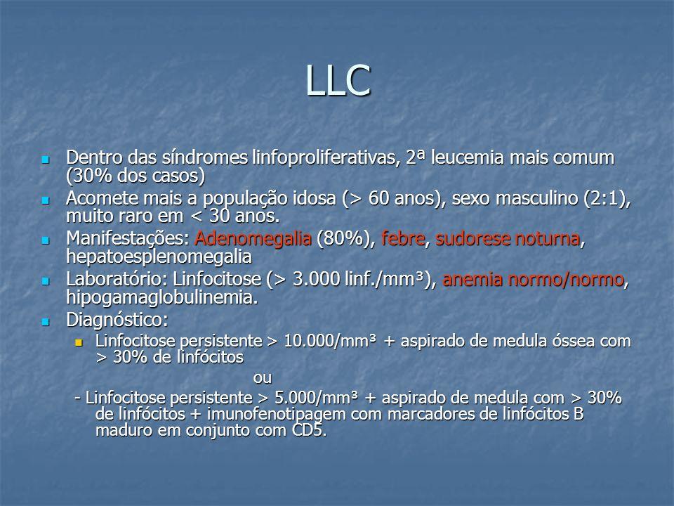 LLC Dentro das síndromes linfoproliferativas, 2ª leucemia mais comum (30% dos casos) Dentro das síndromes linfoproliferativas, 2ª leucemia mais comum