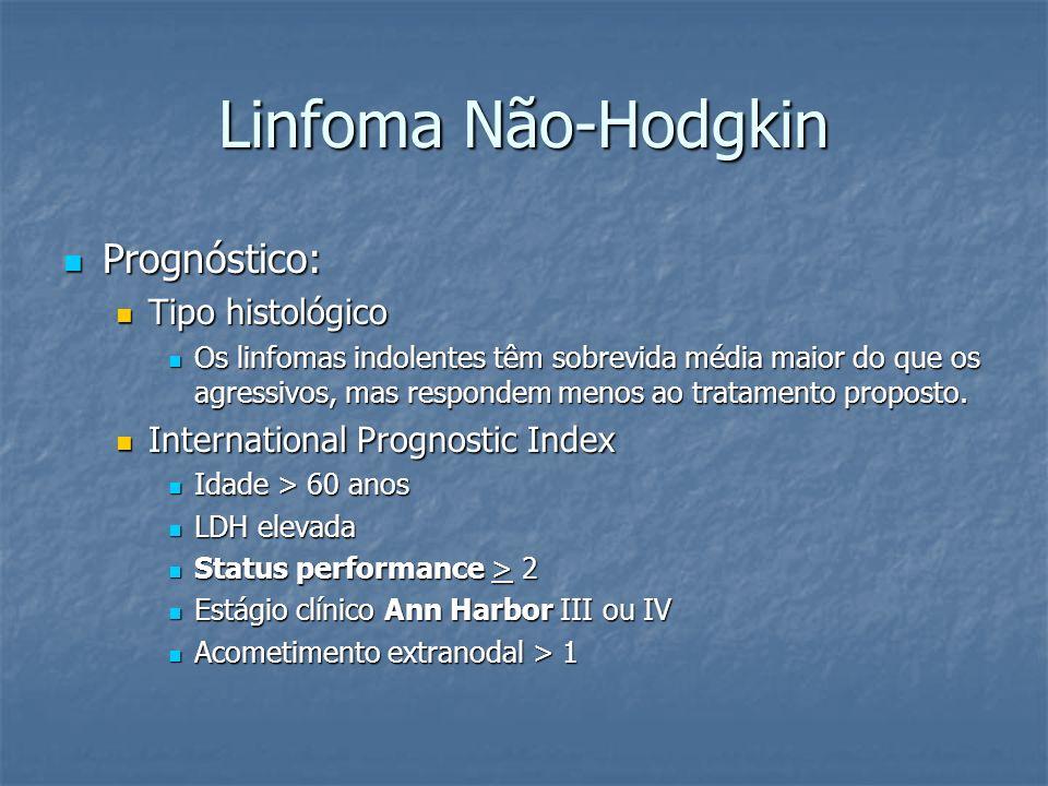 Linfoma Não-Hodgkin Prognóstico: Prognóstico: Tipo histológico Tipo histológico Os linfomas indolentes têm sobrevida média maior do que os agressivos,