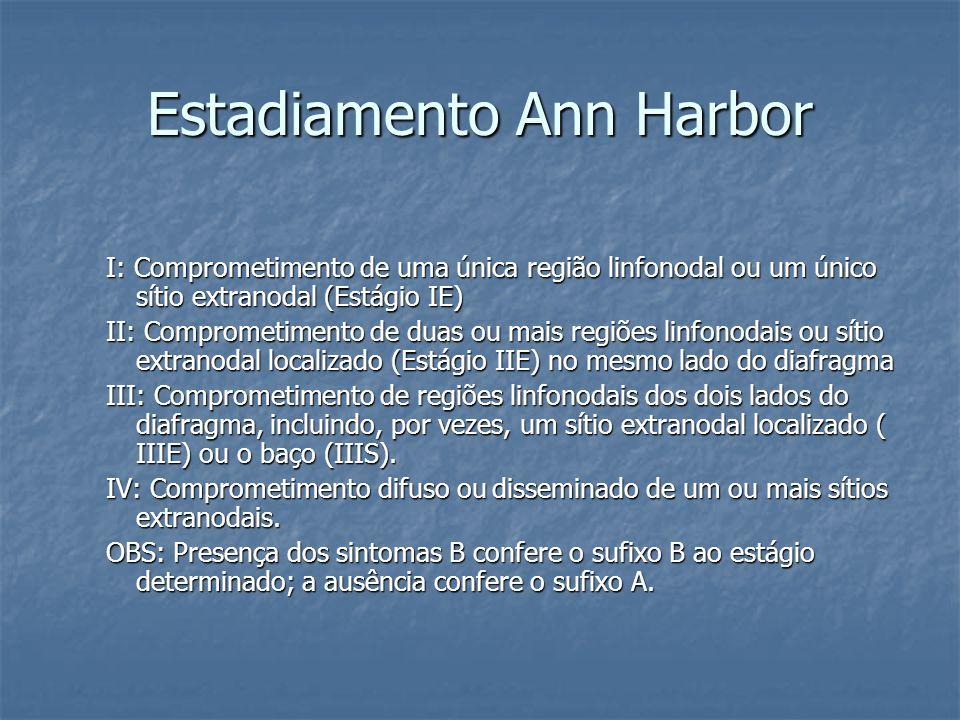 Estadiamento Ann Harbor I: Comprometimento de uma única região linfonodal ou um único sítio extranodal (Estágio IE) II: Comprometimento de duas ou mai