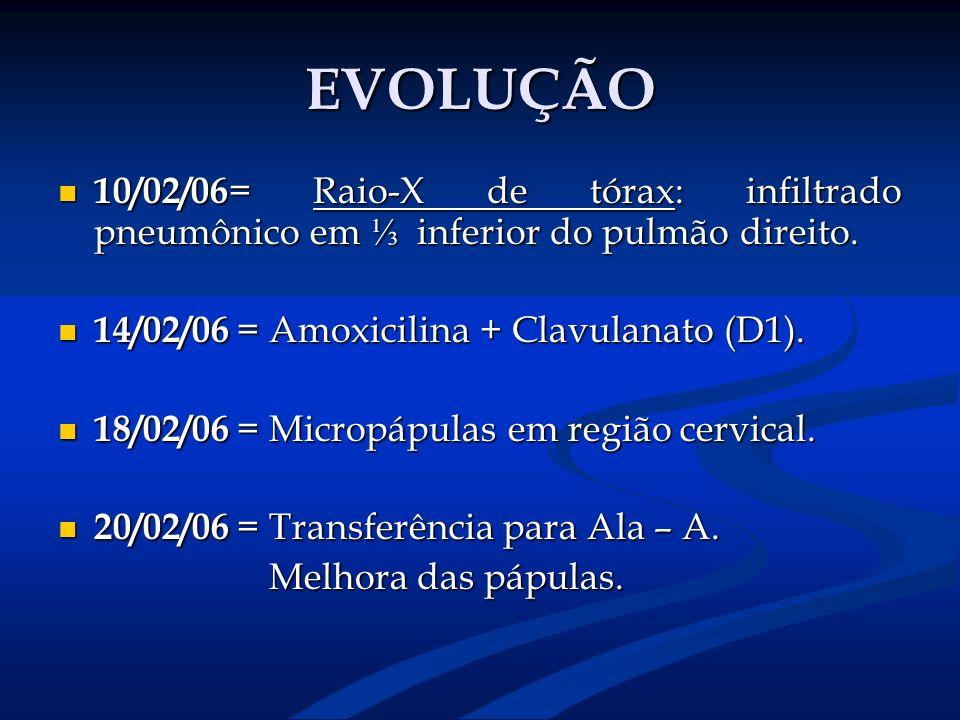 EVOLUÇÃO 10/02/06 = Raio-X de tórax: infiltrado pneumônico em inferior do pulmão direito. 10/02/06 = Raio-X de tórax: infiltrado pneumônico em inferio