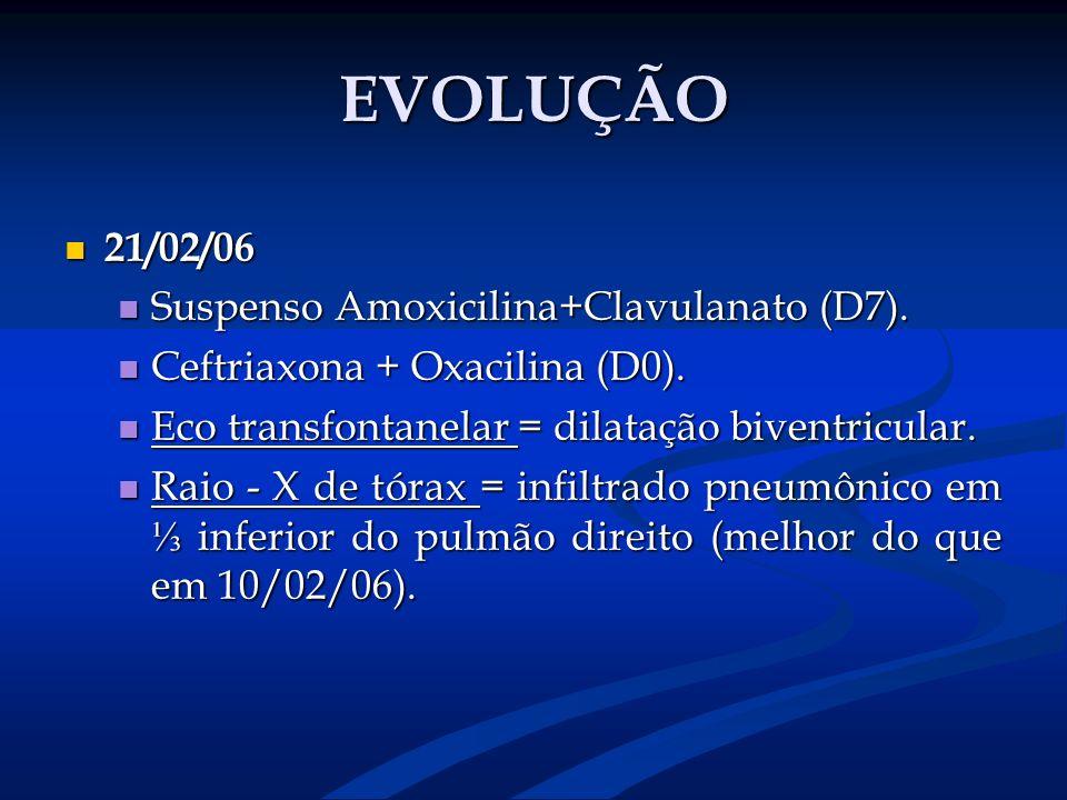 EVOLUÇÃO 21/02/06 21/02/06 Suspenso Amoxicilina+Clavulanato (D7). Suspenso Amoxicilina+Clavulanato (D7). Ceftriaxona + Oxacilina (D0). Ceftriaxona + O