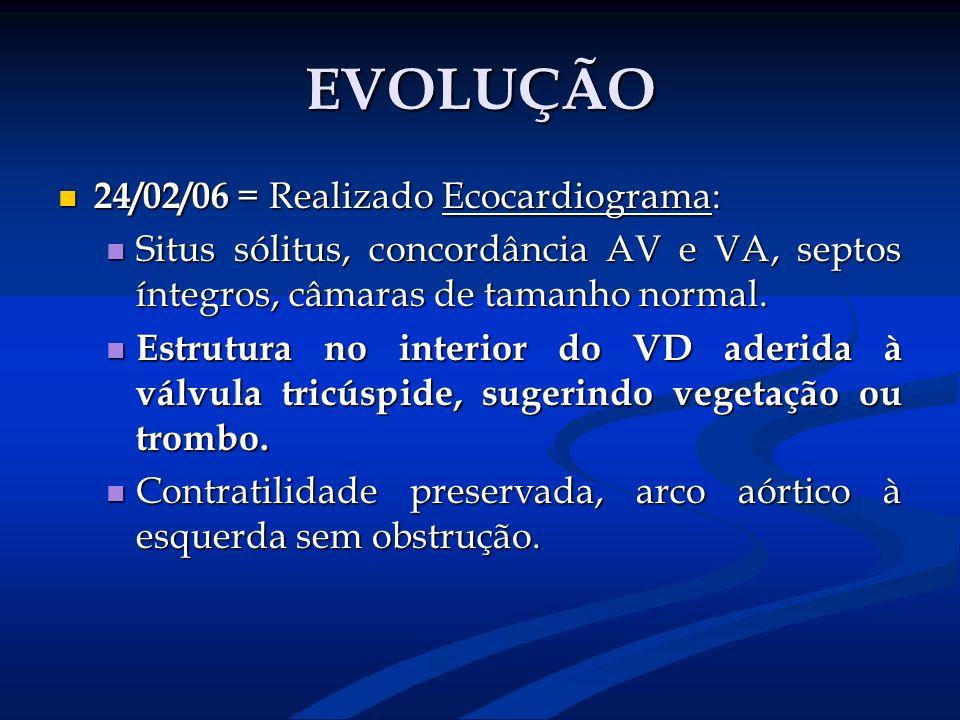 EVOLUÇÃO 24/02/06 = Realizado Ecocardiograma: 24/02/06 = Realizado Ecocardiograma: Situs sólitus, concordância AV e VA, septos íntegros, câmaras de ta