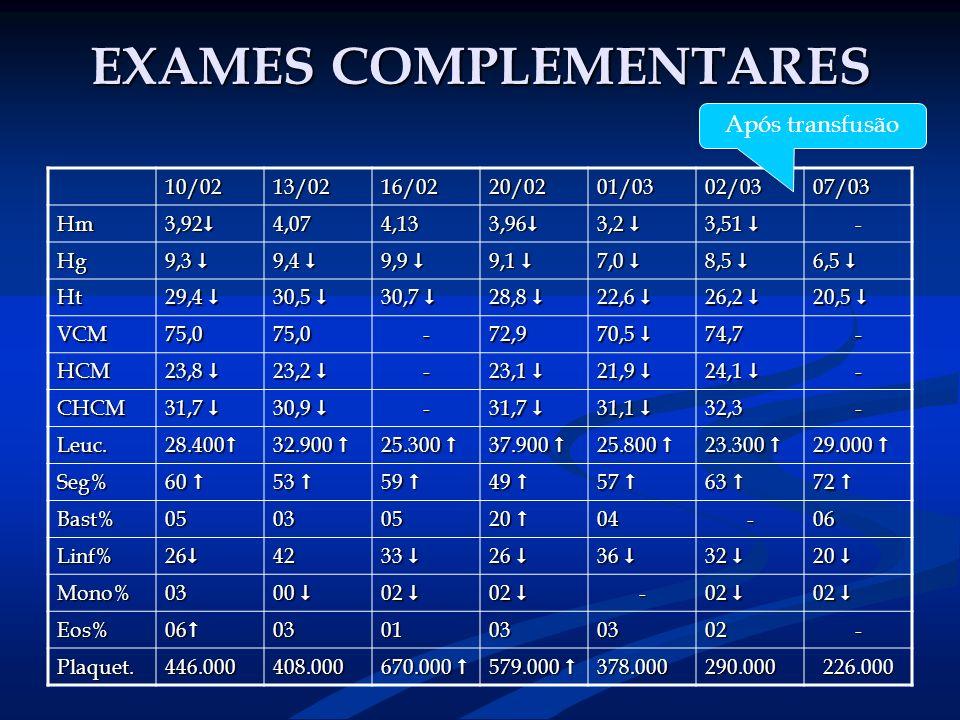 EXAMES COMPLEMENTARES 10/0213/0216/0220/0201/0302/0307/03 Hm 3,92 3,92 4,074,13 3,96 3,96 3,2 3,2 3,51 3,51 - Hg 9,3 9,3 9,4 9,4 9,9 9,9 9,1 9,1 7,0 7