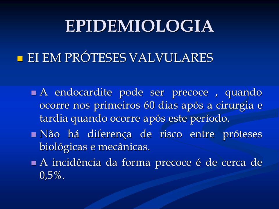 EPIDEMIOLOGIA EI EM PRÓTESES VALVULARES EI EM PRÓTESES VALVULARES A endocardite pode ser precoce, quando ocorre nos primeiros 60 dias após a cirurgia