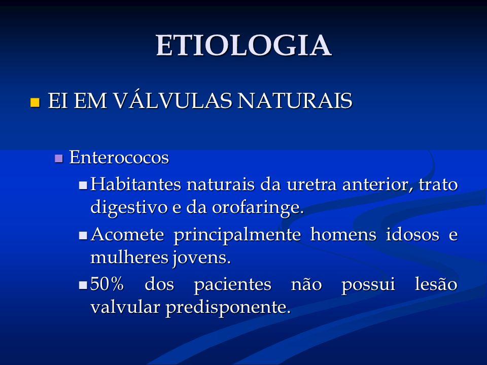 ETIOLOGIA EI EM VÁLVULAS NATURAIS EI EM VÁLVULAS NATURAIS Enterococos Enterococos Habitantes naturais da uretra anterior, trato digestivo e da orofari