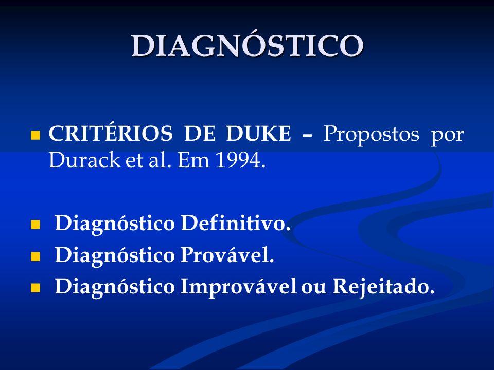 DIAGNÓSTICO CRITÉRIOS DE DUKE – Propostos por Durack et al. Em 1994. Diagnóstico Definitivo. Diagnóstico Provável. Diagnóstico Improvável ou Rejeitado
