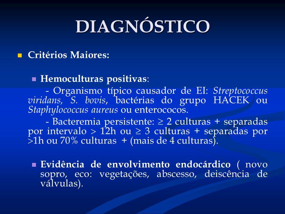 DIAGNÓSTICO Critérios Maiores: Hemoculturas positivas : - Organismo típico causador de EI: Streptococcus viridans, S. bovis, bactérias do grupo HACEK