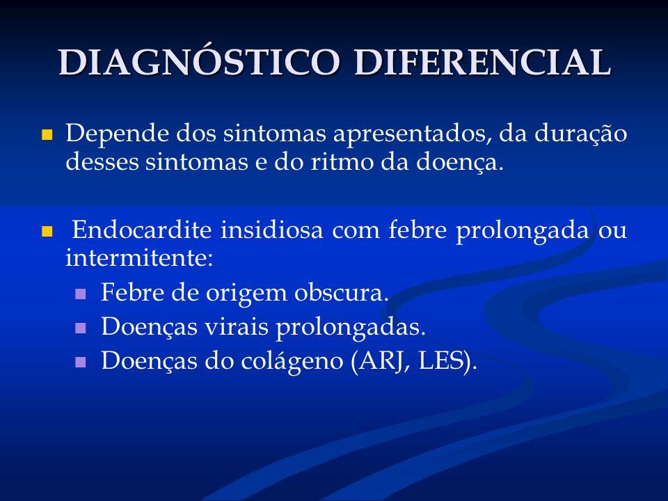 DIAGNÓSTICO DIFERENCIAL Depende dos sintomas apresentados, da duração desses sintomas e do ritmo da doença. Endocardite insidiosa com febre prolongada