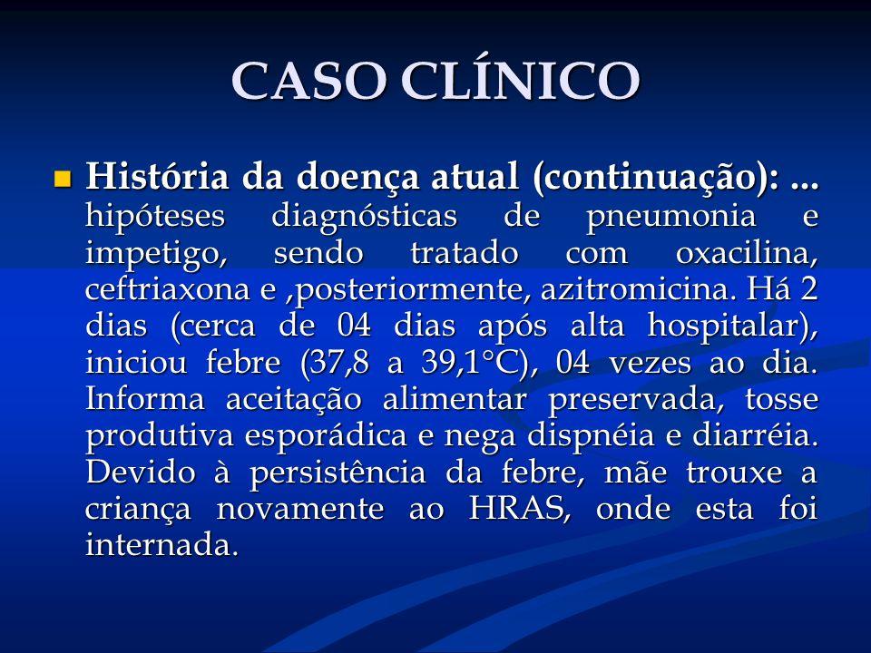 CASO CLÍNICO História da doença atual (continuação):... hipóteses diagnósticas de pneumonia e impetigo, sendo tratado com oxacilina, ceftriaxona e,pos