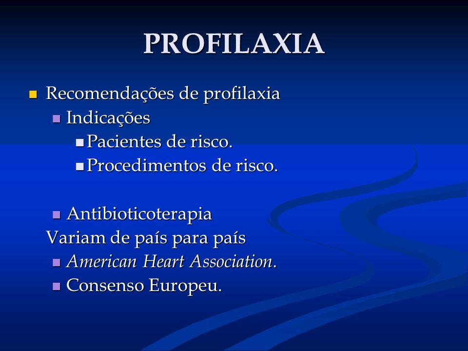 PROFILAXIA Recomendações de profilaxia Recomendações de profilaxia Indicações Indicações Pacientes de risco. Pacientes de risco. Procedimentos de risc