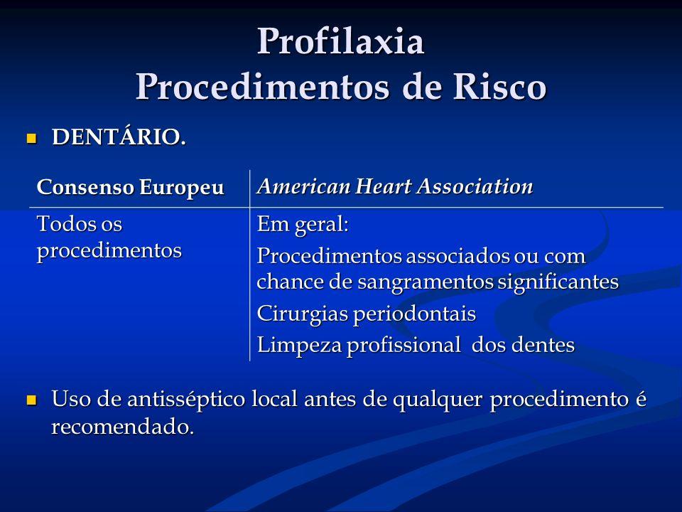 Profilaxia Procedimentos de Risco DENTÁRIO. DENTÁRIO. Uso de antisséptico local antes de qualquer procedimento é recomendado. Uso de antisséptico loca