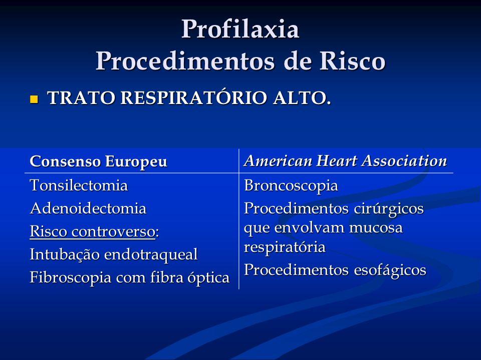 Profilaxia Procedimentos de Risco TRATO RESPIRATÓRIO ALTO. TRATO RESPIRATÓRIO ALTO. Consenso Europeu American Heart Association TonsilectomiaAdenoidec