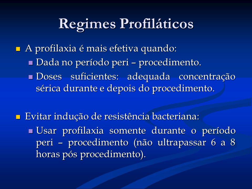 Regimes Profiláticos A profilaxia é mais efetiva quando: A profilaxia é mais efetiva quando: Dada no período peri – procedimento. Dada no período peri