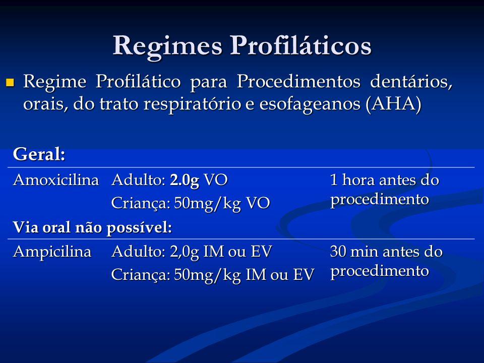 Regimes Profiláticos Regime Profilático para Procedimentos dentários, orais, do trato respiratório e esofageanos (AHA) Regime Profilático para Procedi