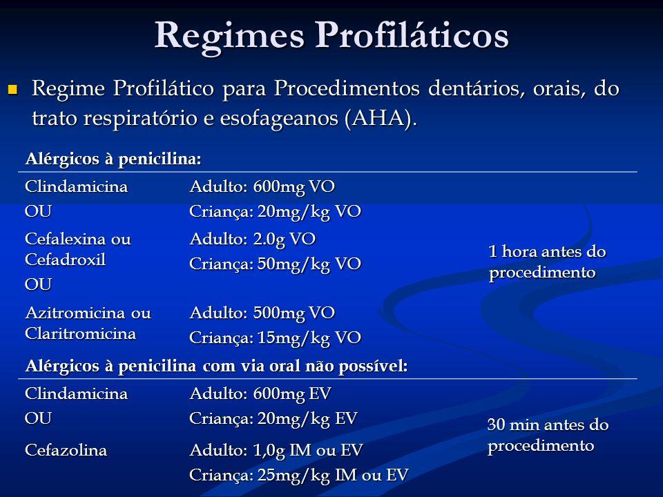 Regimes Profiláticos Regime Profilático para Procedimentos dentários, orais, do trato respiratório e esofageanos (AHA). Regime Profilático para Proced