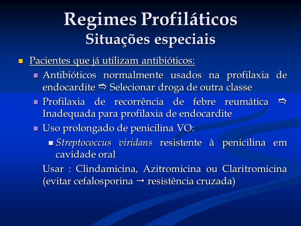 Regimes Profiláticos Situações especiais Pacientes que já utilizam antibióticos: Pacientes que já utilizam antibióticos: Antibióticos normalmente usad