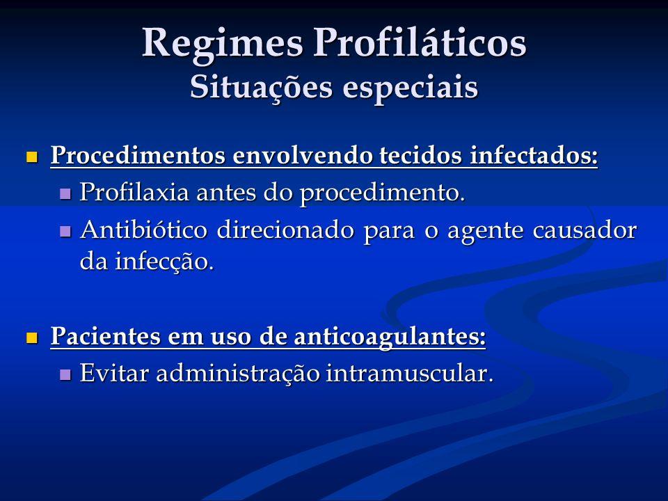 Regimes Profiláticos Situações especiais Procedimentos envolvendo tecidos infectados: Procedimentos envolvendo tecidos infectados: Profilaxia antes do