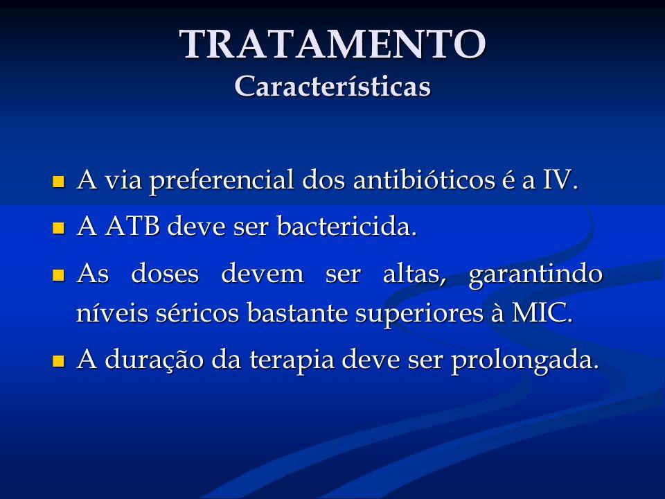 TRATAMENTO Características A via preferencial dos antibióticos é a IV. A via preferencial dos antibióticos é a IV. A ATB deve ser bactericida. A ATB d