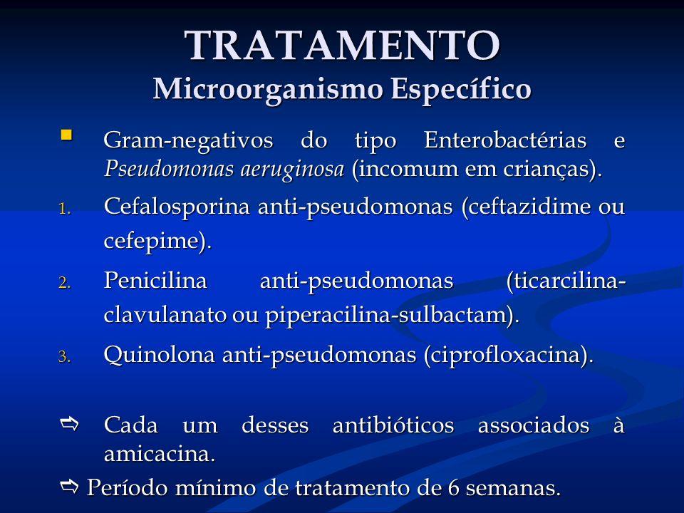TRATAMENTO Microorganismo Específico Gram-negativos do tipo Enterobactérias e Pseudomonas aeruginosa (incomum em crianças). Gram-negativos do tipo Ent