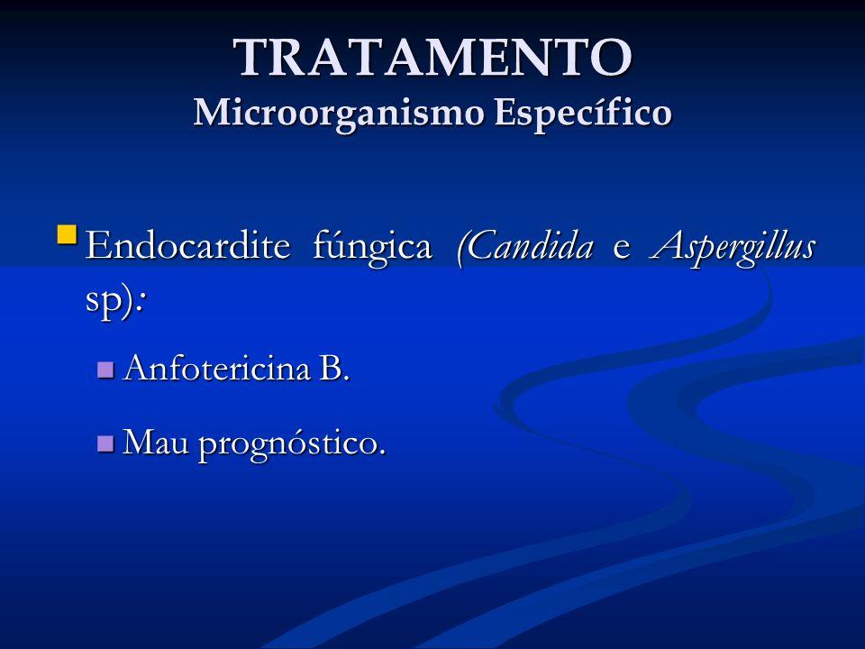 TRATAMENTO Microorganismo Específico Endocardite fúngica (Candida e Aspergillus sp): Endocardite fúngica (Candida e Aspergillus sp): Anfotericina B. A