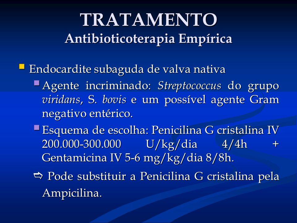 TRATAMENTO Antibioticoterapia Empírica Endocardite subaguda de valva nativa Endocardite subaguda de valva nativa Agente incriminado: Streptococcus do