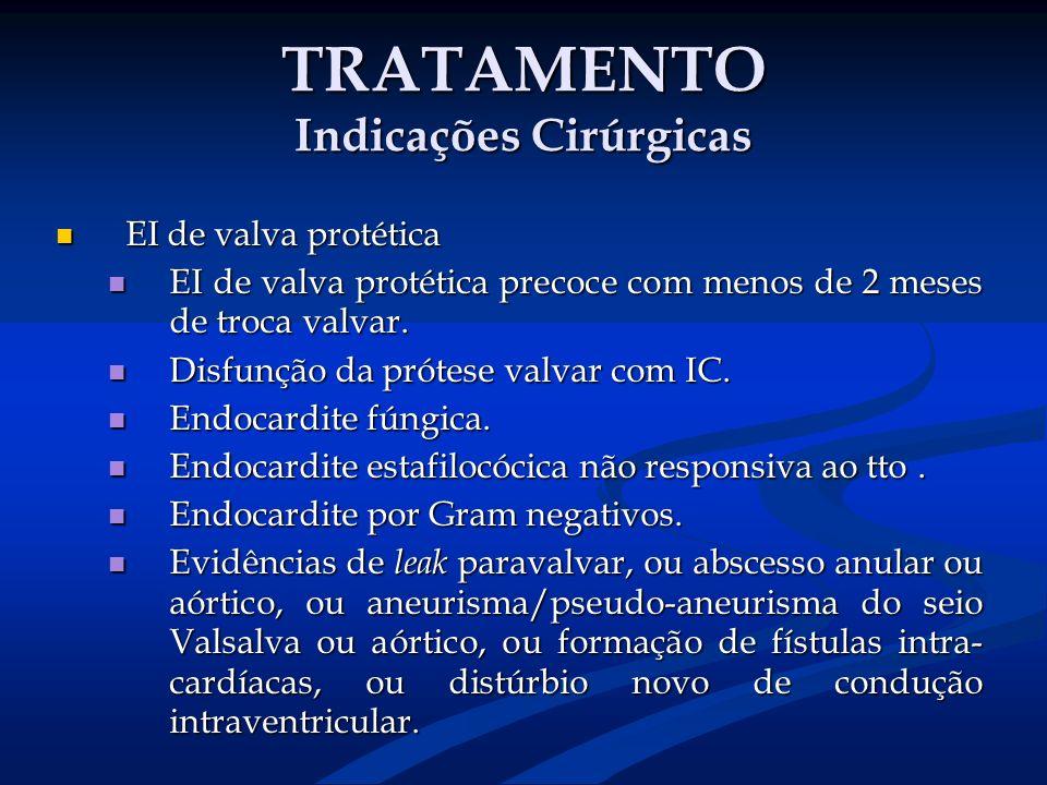 TRATAMENTO Indicações Cirúrgicas EI de valva protética EI de valva protética EI de valva protética precoce com menos de 2 meses de troca valvar. EI de