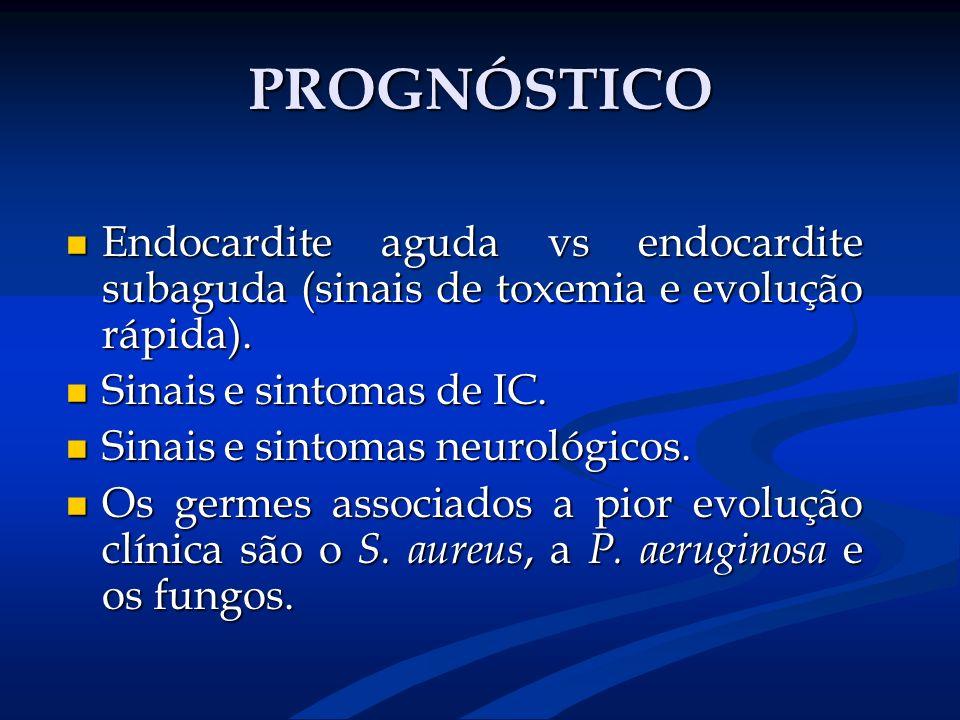 PROGNÓSTICO Endocardite aguda vs endocardite subaguda (sinais de toxemia e evolução rápida). Endocardite aguda vs endocardite subaguda (sinais de toxe