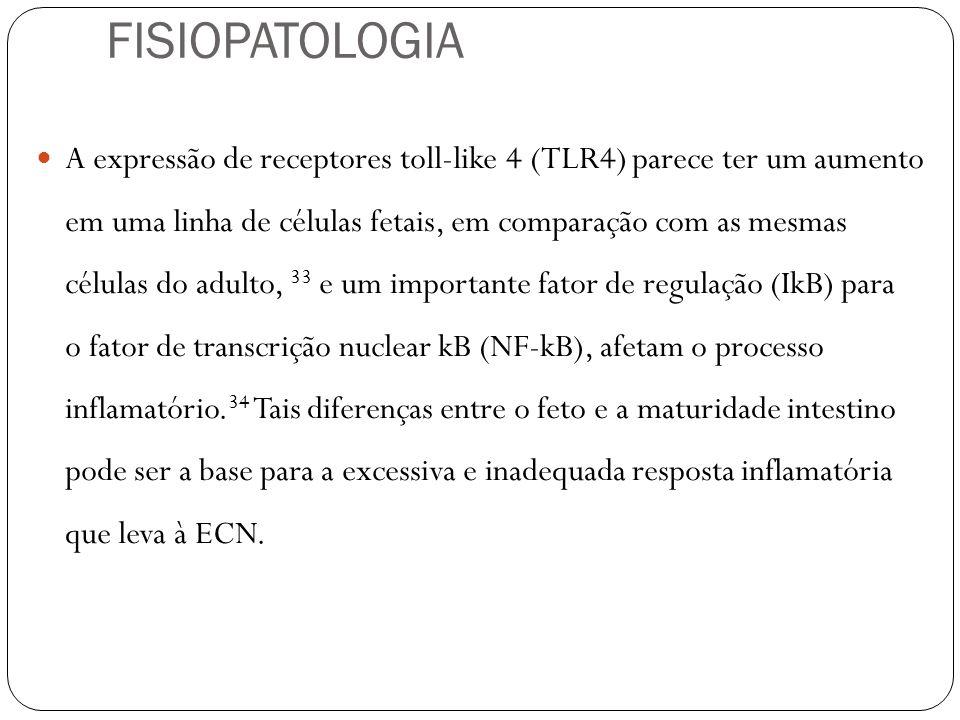 A expressão de receptores toll-like 4 (TLR4) parece ter um aumento em uma linha de células fetais, em comparação com as mesmas células do adulto, 33 e