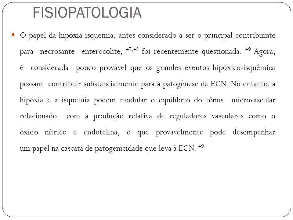 O papel da hipóxia-isquemia, antes considerado a ser o principal contribuinte para necrosante enterocolite, 47,48 foi recentemente questionada. 49 Ago