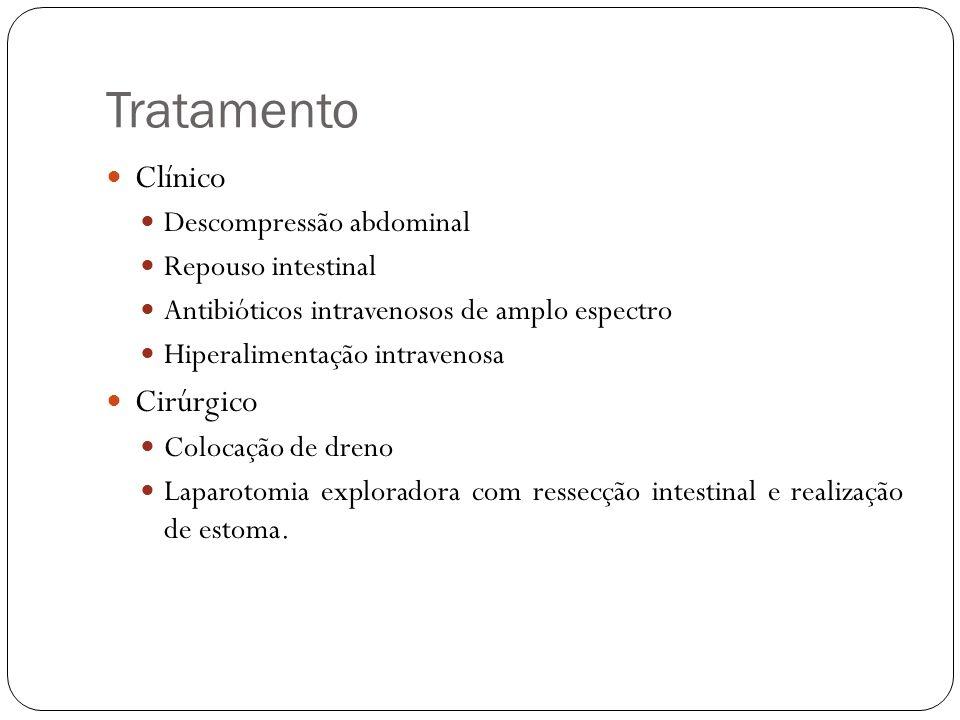 Tratamento Clínico Descompressão abdominal Repouso intestinal Antibióticos intravenosos de amplo espectro Hiperalimentação intravenosa Cirúrgico Coloc