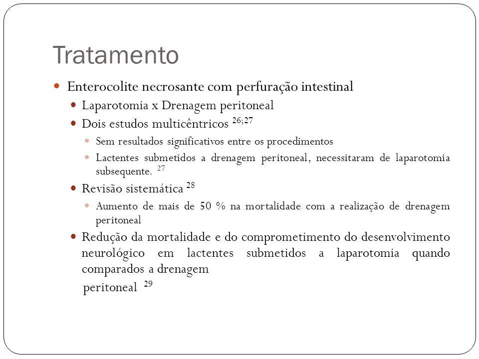 Tratamento Enterocolite necrosante com perfuração intestinal Laparotomia x Drenagem peritoneal Dois estudos multicêntricos 26;27 Sem resultados signif