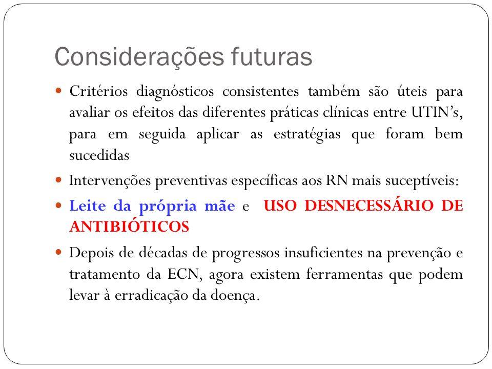 Considerações futuras Critérios diagnósticos consistentes também são úteis para avaliar os efeitos das diferentes práticas clínicas entre UTINs, para