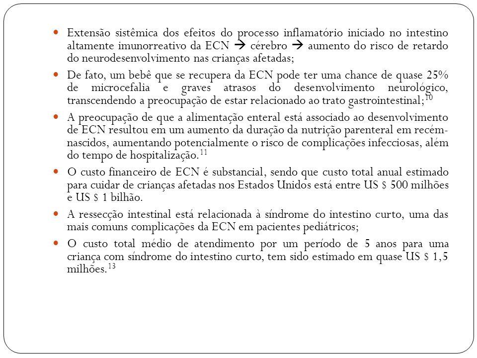Extensão sistêmica dos efeitos do processo inflamatório iniciado no intestino altamente imunorreativo da ECN cérebro aumento do risco de retardo do ne