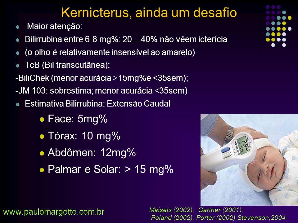 Poland (2002): 2 publicações influenciaram o modo de pensar dos Pediatras sobre icterícia 1983 (Watchko e Oski): Bil > 20mg% - vigintifobia (Bilirrubina > 20 mg% - em RNT saudável – sem fundamento) 1992 (Newman e Maisels): Bilirrubina entre 0 – 29,2mg% sem correlação com o desenvolvimento neurocomportamental (no RN a termo- ET > 25 mg%) 1994 – AAP – ET > 25 mg% a 30 mg% para RNT saudáveis s/ hemólise Aparente desvio do Pediatra - RN com hemólise oculta - RN prematuro - RN não se alimentando adequadamente Tratados como iguais www.paulomargotto.com.br Kernicterus, ainda um desafio