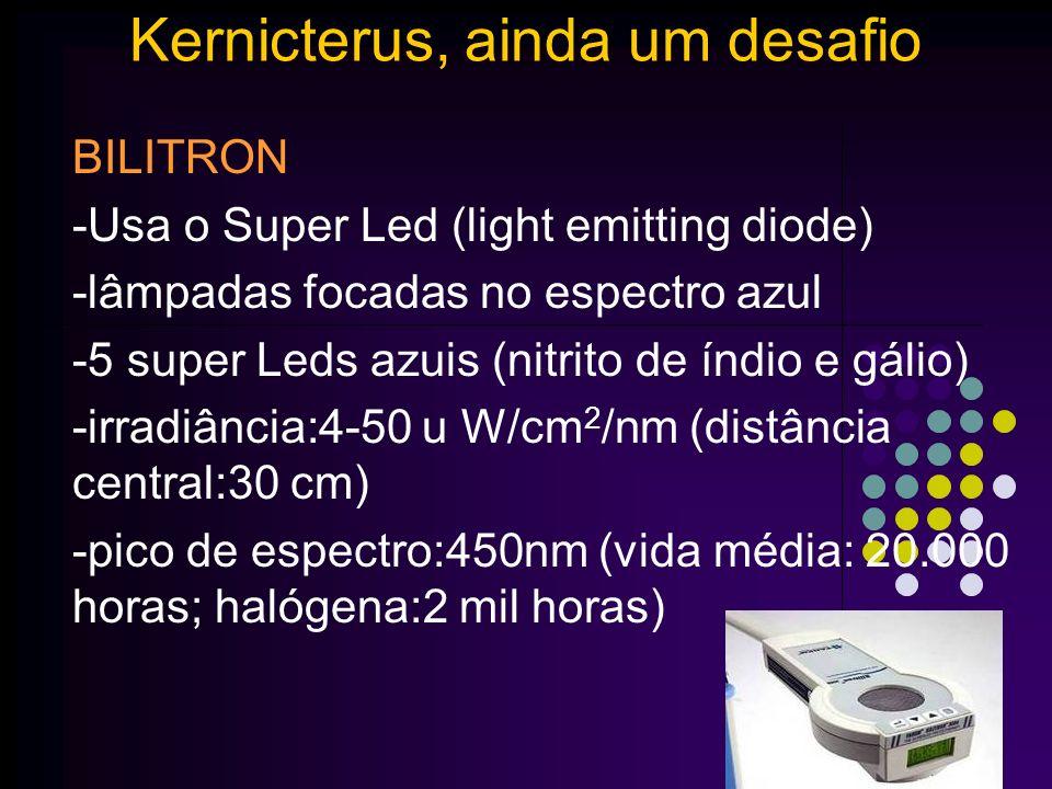 FOTOTERAPIA Kernicterus, ainda um desafio www.paulomargotto.com.br Fototerapia intensiva: irradiância >30 µ W/cm 2 /nm Efeito do tipo de luz e distância AAP,2004 Bilitron Special Blue
