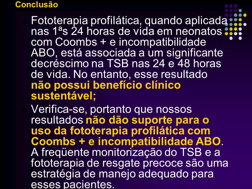 A fototerapia profilática previne a hiperbilirrubinemia em neonatos com incompatibilidade ABO e teste de Coombs positivo.