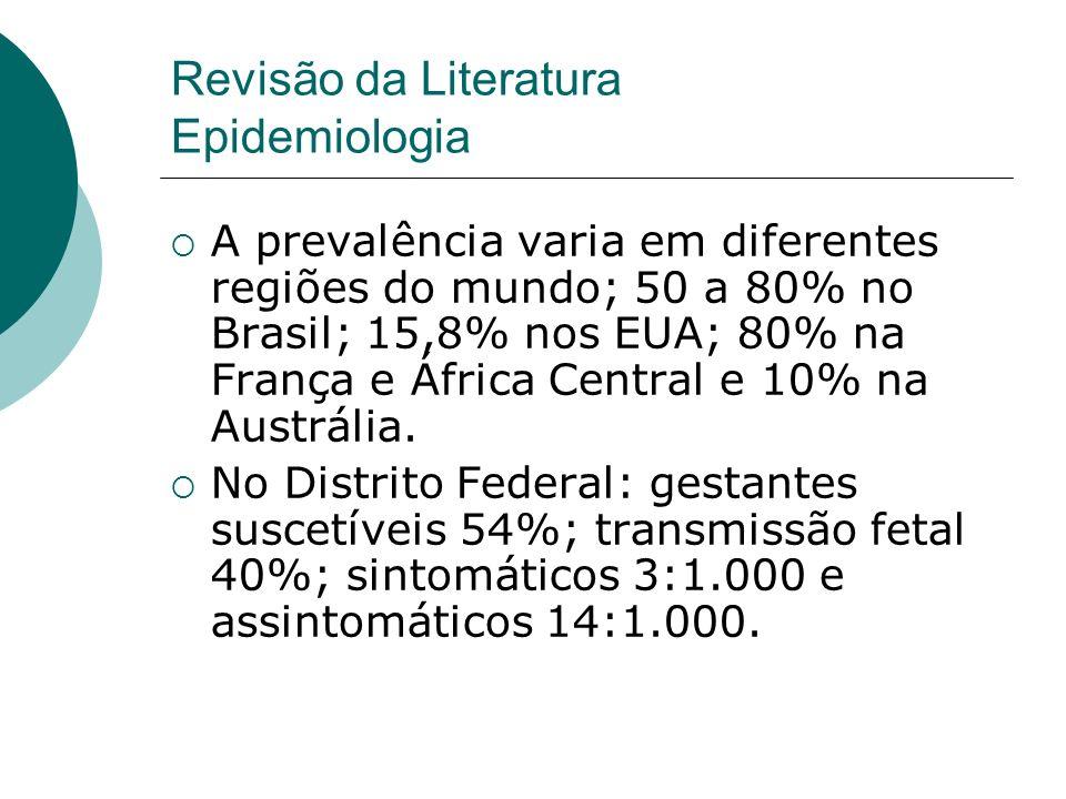 A prevalência varia em diferentes regiões do mundo; 50 a 80% no Brasil; 15,8% nos EUA; 80% na França e África Central e 10% na Austrália.