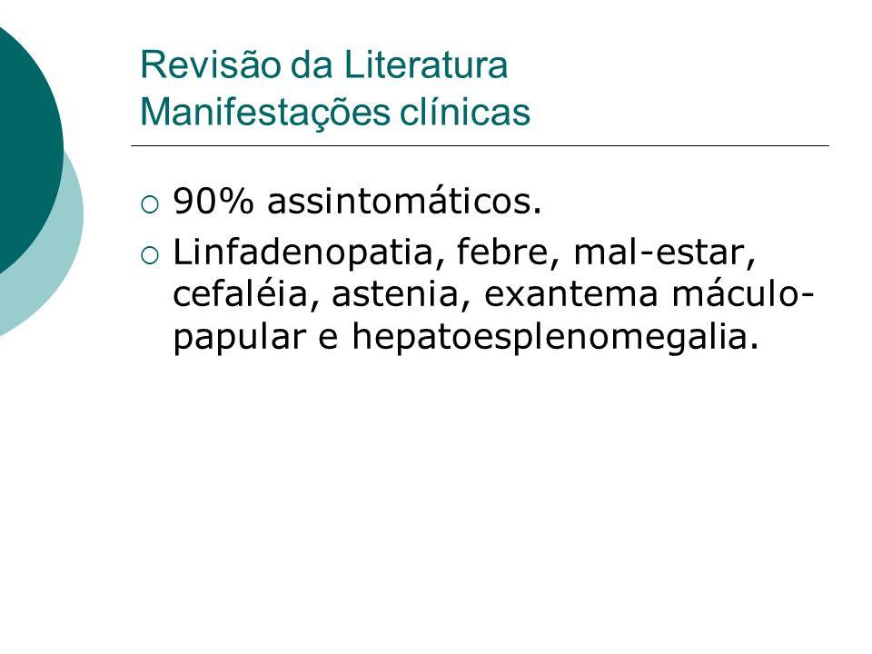 90% assintomáticos. Linfadenopatia, febre, mal-estar, cefaléia, astenia, exantema máculo- papular e hepatoesplenomegalia. Revisão da Literatura Manife