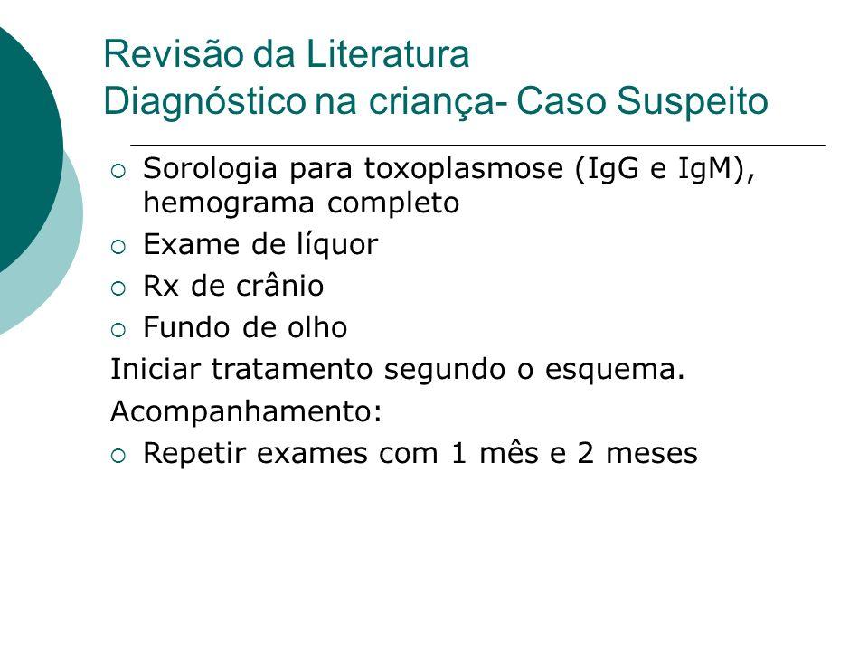 Revisão da Literatura Diagnóstico na criança- Caso Suspeito Sorologia para toxoplasmose (IgG e IgM), hemograma completo Exame de líquor Rx de crânio Fundo de olho Iniciar tratamento segundo o esquema.