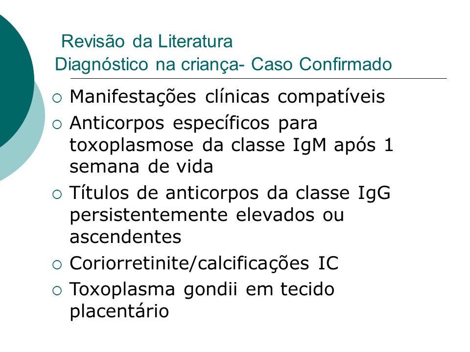 Revisão da Literatura Diagnóstico na criança- Caso Confirmado Manifestações clínicas compatíveis Anticorpos específicos para toxoplasmose da classe IgM após 1 semana de vida Títulos de anticorpos da classe IgG persistentemente elevados ou ascendentes Coriorretinite/calcificações IC Toxoplasma gondii em tecido placentário